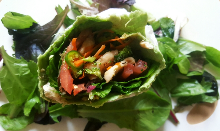 Spicy Asian Chicken Spinach Wrap
