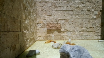 Travertine, a rock used to build the Colosseum in Rome, is featured everywhere in the Getty Center.
